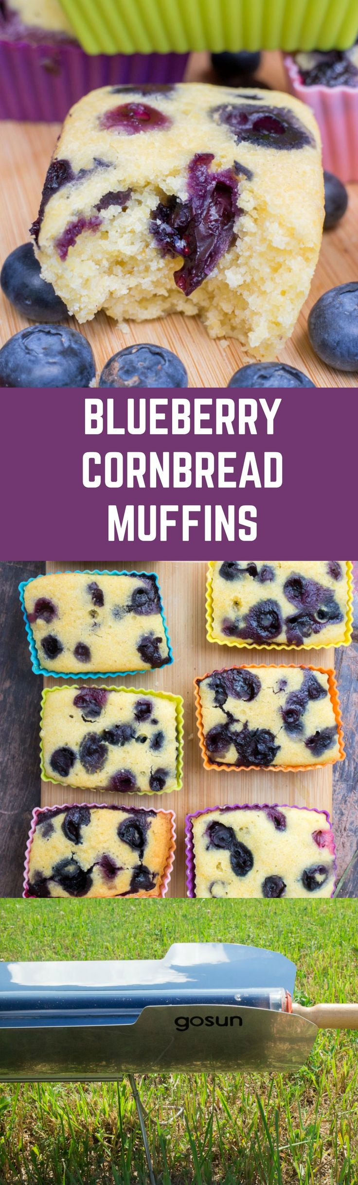 Delicious blueberry cornbread muffins that are baked in 30 minutes in a solar stove, no electricity needed!
