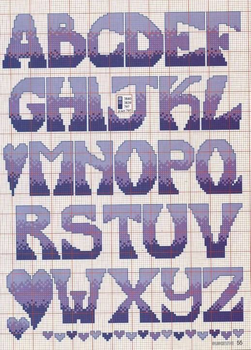 Bold uppercase alphabet. Can use many colours and shades!