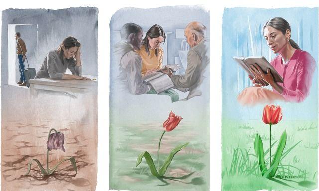 Uma irmã fica arrasada depois que seu marido a abandona; os anciãos dão ajuda e ela também encontra consolo na leitura da Bíblia