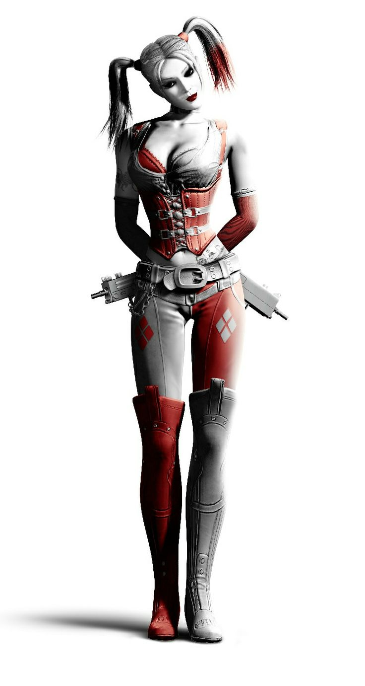Harley Quinn - Arkham city- shows detail on boots, belt, and pants. two tattoos.