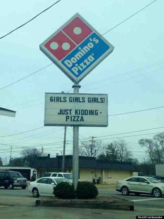 Funny #Domino's pizza sign :)