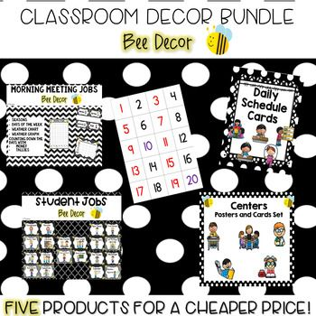 This bundle has everything you need to decorate your classroom in a bumble bee theme! It contains five of my bee decor classroom resources: •Student Jobs •Morning Meeting Jobs •Center