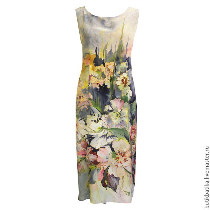 Купить Шелковое платье батик Прохлада (2015) - разноцветный, цветочный, платье, шелковое платье