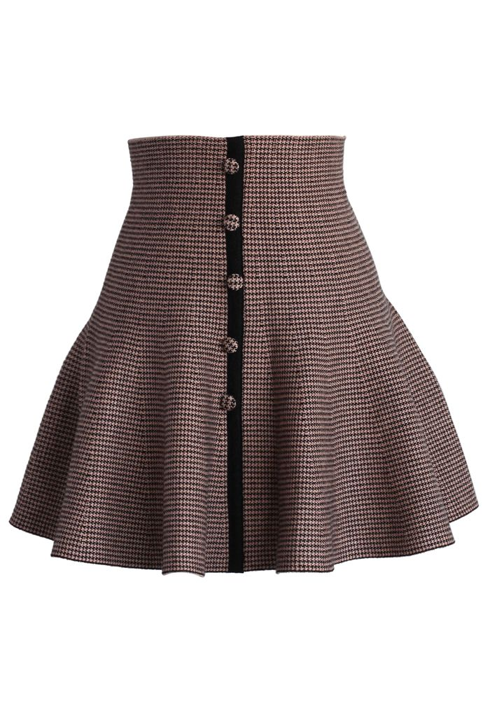 Buttons Up Knitted Skater Skirt in Pink - Skirt - Bottoms - Retro, Indie and Unique Fashion