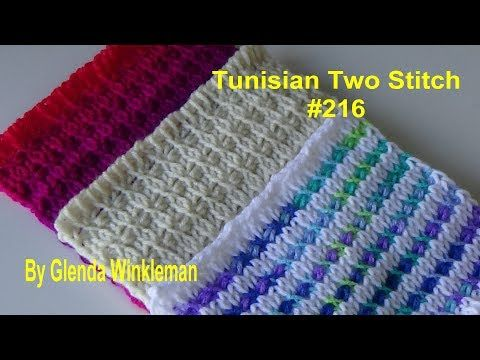 Stitch of the Week Tunisian Two Stitch #216 (FREE PATTERN at the end of video) - YouTube