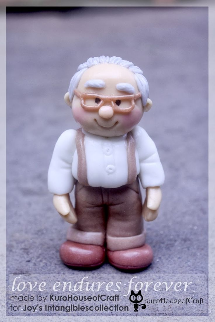 """Grandfather Cold Porcelain Clay - Insipirated from """"UP"""" movie http://kurohouseofcraft.blogspot.com/2014/03/clay-grandpa-and-grandma-love-endures.html"""