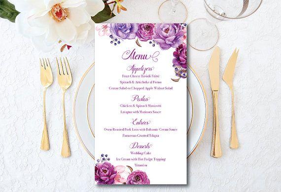 Tarjeta de menú de boda, menú carta, menú de boda, rosas flores para imprimir menú, boda, rosas de púrpura, púrpura boda, elegante menú