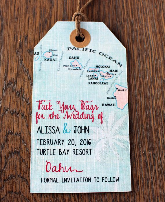 Hawaii Save the Date Luggage Tag Magnet. by PartyGlamourShop