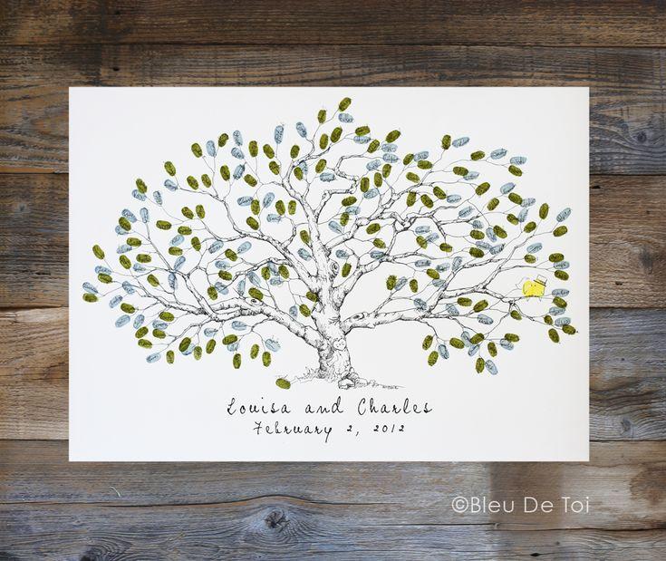 Low Oak Fingerprint Tree, Wedding Guest Book Alternative, Thumbprint Guestbook, Fingerprint Tree - Bleu de Toi