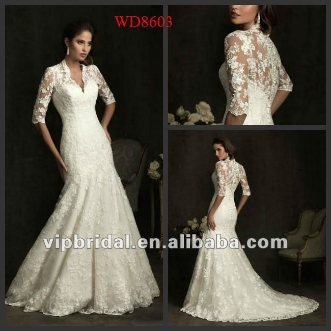 Mermaid/Trumpet V Neck long sleeve lace wedding dresses 2012