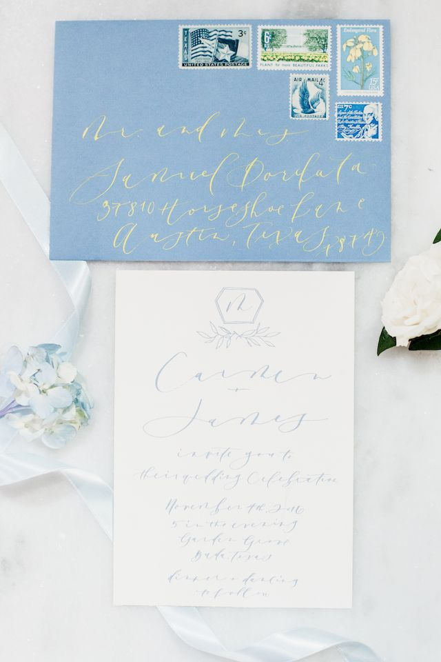 Icy blue and chartreuse calligraphy wedding invitation suite | Grey to Blue Photography