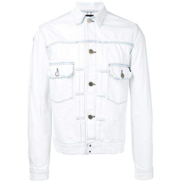 Factotum denim jacket (€595) ❤ liked on Polyvore featuring men's fashion, men's clothing, men's outerwear, men's jackets, white, mens white denim jacket, mens white jean jacket and mens white jacket