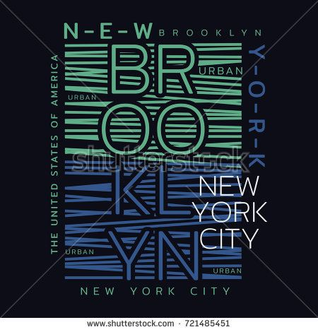 Vector illustration on the theme of New York City, Brooklyn. Typography, t-shirt graphics, print, poster, banner, flyer, postcard