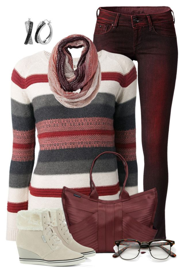 """Ruby Red"" by kswirsding ❤ liked on Polyvore featuring Pepe Jeans London, Joie and Mossimo Supply Co."