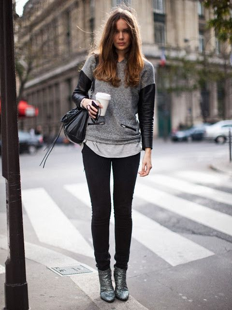 Leather sleeves & zippers.. tomboy chic street style #minimalist #fashion