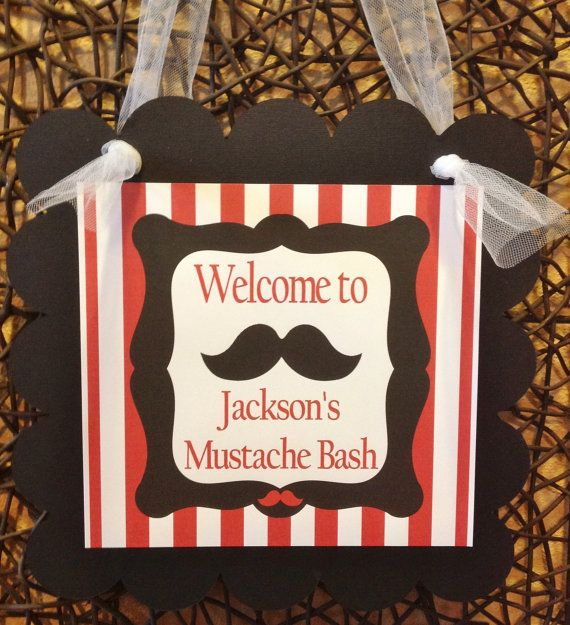 Door Sign - Mustache Bash Happy Birthday - Red Stripes & White and Black Chevron - Party Pack Specials Available on Etsy, $12.00