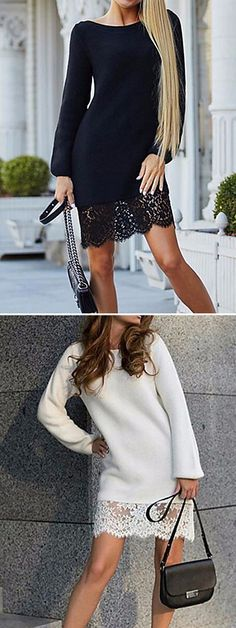 Gorgeous casual chic knitted sweater lace dress. Wear it for a date or work. Look stunning and sexy always. Find it in ivory white and black colors at just  $12.34.  Enjoy up to 85% OFF in our Black Friday sale - till December 1.