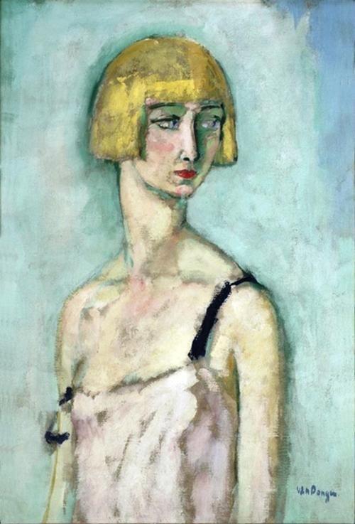 Kees van Dongen - Female portrait. Oil on canvas.
