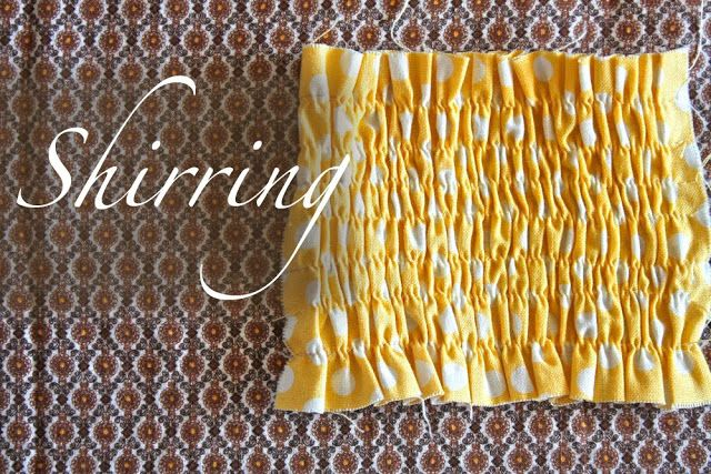 Shirring: There are many shirring tutorials out there. And a lot of them have different ideas on tension, thread length, how tightly to wind the bobbin, etc. So, in preparation......