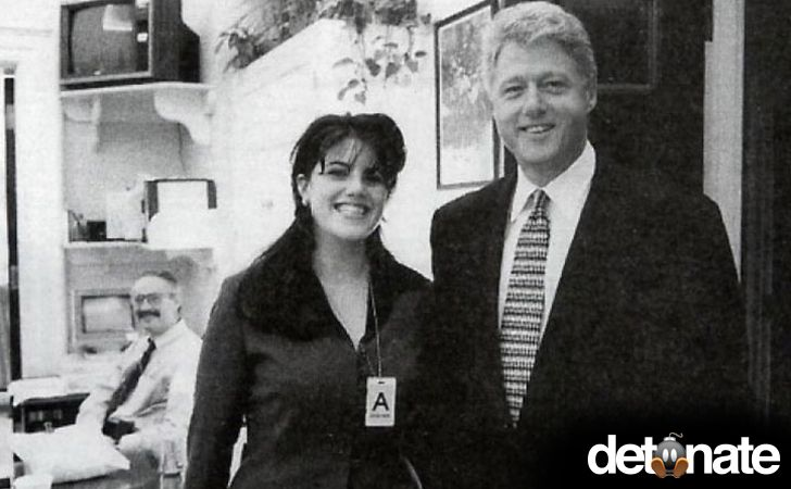 Famous Intern -- President Clinton poses with White House intern Monica Lewinsky, ever heard of her? [1995]