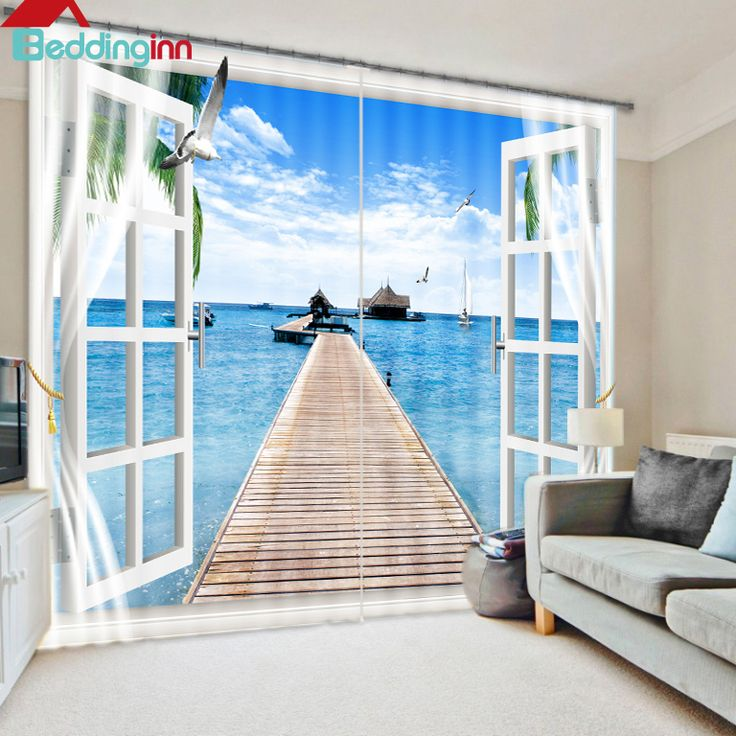 Beautiful Scenery Light Blocking 3d Curtain 3d Curtains