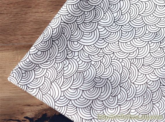 Japanese Cotton Fabric-Chic Ocean Waves In Black and White (Fat Quarter) via Etsy