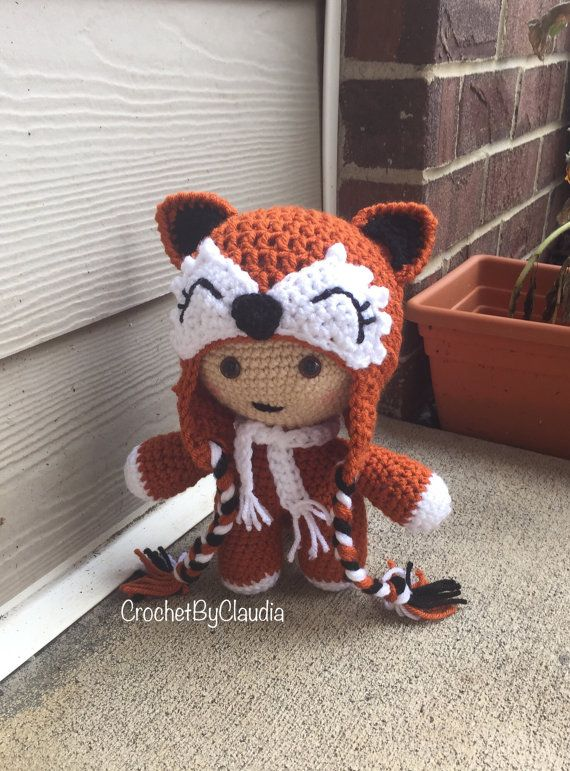 Crochet Big Head Baby/ Baby Keepsake/ Crochet Doll/ Fox Hat
