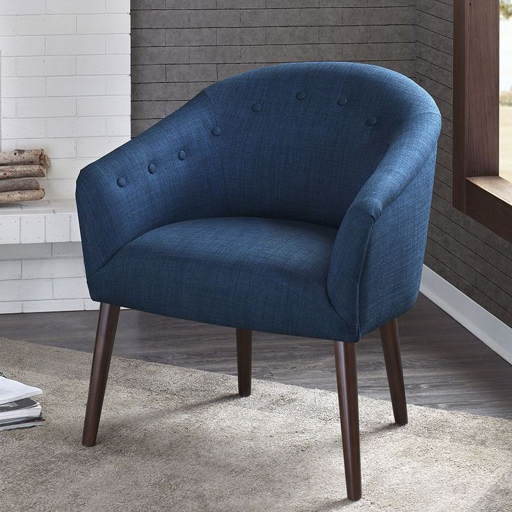 Madison Park Kyrin Chair Blue Accent Chairs Barrel