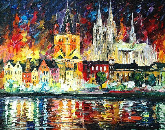Übernachtung In Köln Ölgemälde auf Leinwand von AfremovArtStudio