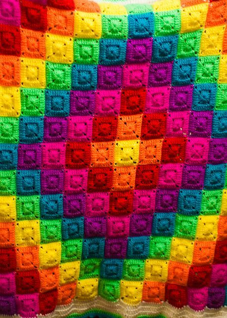 Rainbow Granny Square Pattern Blanket