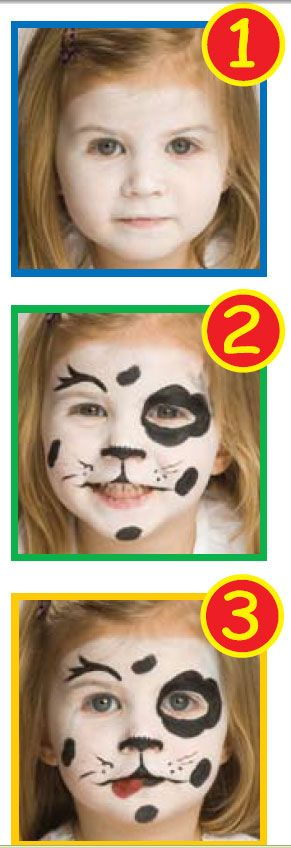 How to face paint a puppy with Snazaroo face paints from http://www.facepaintingtips.com