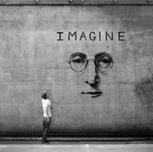 Imagine, street art, graffitti, imaginative, true, man, glasses, nose, lips, mouth, man, watcher, photo b/w., brilliant.