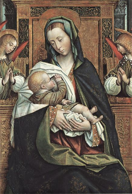 """Anonimo , Defendente Ferrari, """"Madonna che allatta il Bambino con angeli musicanti, i santi Barbara con un donatore e Michele"""", particolare,..."""