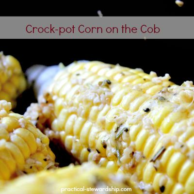 6 corn on the cob (break in half), 4 T butter, olive oil, or coconut oil (or more if needed), 1 T minced garlic, 1 t Italian seasonings Wrap ears in foil, after covering with above mixture, Cook 4hrs low, 2hrs high.