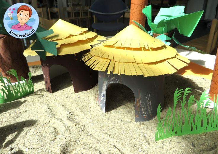 Hut knutselen uit Afrika,kleuteridee, thema Afrika, kindergarten Africa theme.