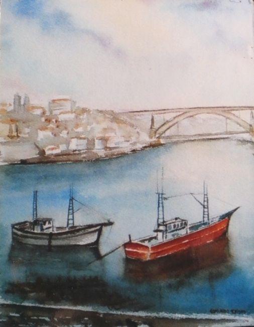 """""""Barcos de Pesca"""" pintura a Aguarela de          Edmundo Isidro"""