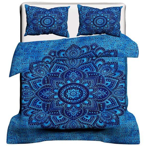 Large Mandala Flower Print Indian Blue Cotton Duvet Set Bohemian Throw Blanket Handmade Reversible D In 2021 Duvet Covers Bohemian Duvet Covers Mandala Duvet Cover