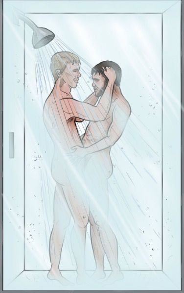 Emmerdale's Robert and Aaron get steamy in the shower and get married in Vegas in this amazing fan art  - DigitalSpy.com