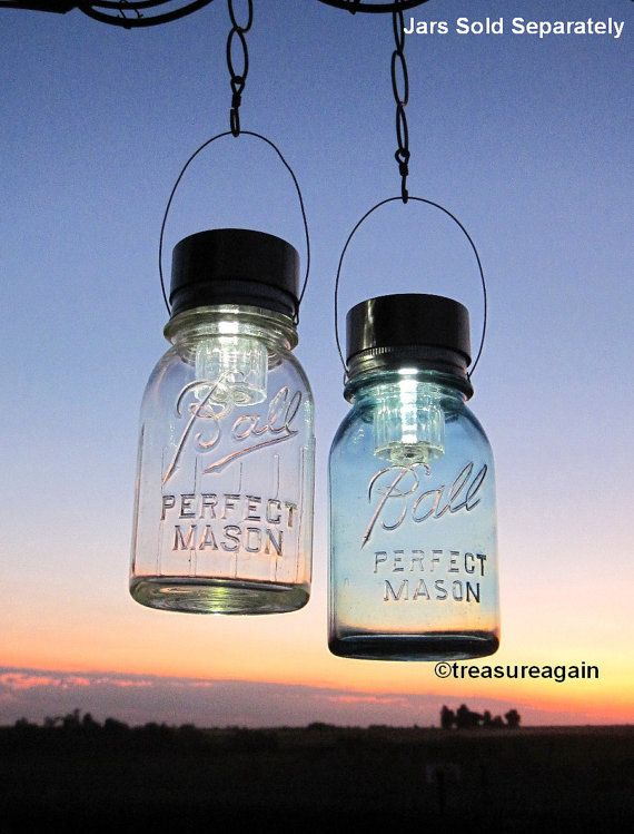 Hanging Solar Mason Jar Lids 2 Outdoor Garden Upcycled Mason Jar Solar Lights with Hangers, No Jars on Etsy, € 17,99