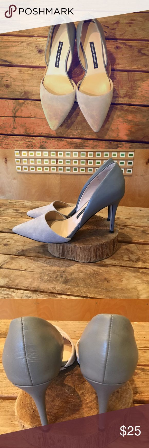 French Connection Two Toned Heels Gorgeous in gray! Stunning two-toned French connection shoes, slight wear on back of heels as shown in photos, otherwise amazing shape and ready to rock your next night out! French Connection Shoes Heels