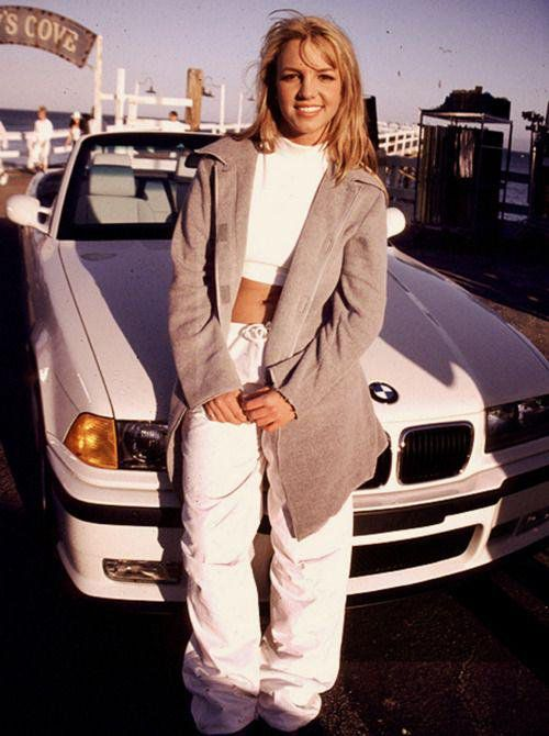 Young Britney Spears modeling her fashion trends.