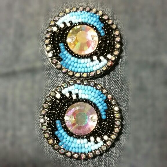 Black earrings with turquoise ombre.