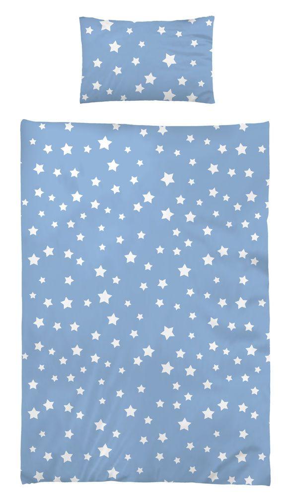 Bettwäsche 100x135 cm Baumwolle Kinder Sterne Sternmotiv hellblau Jungen Mädchen