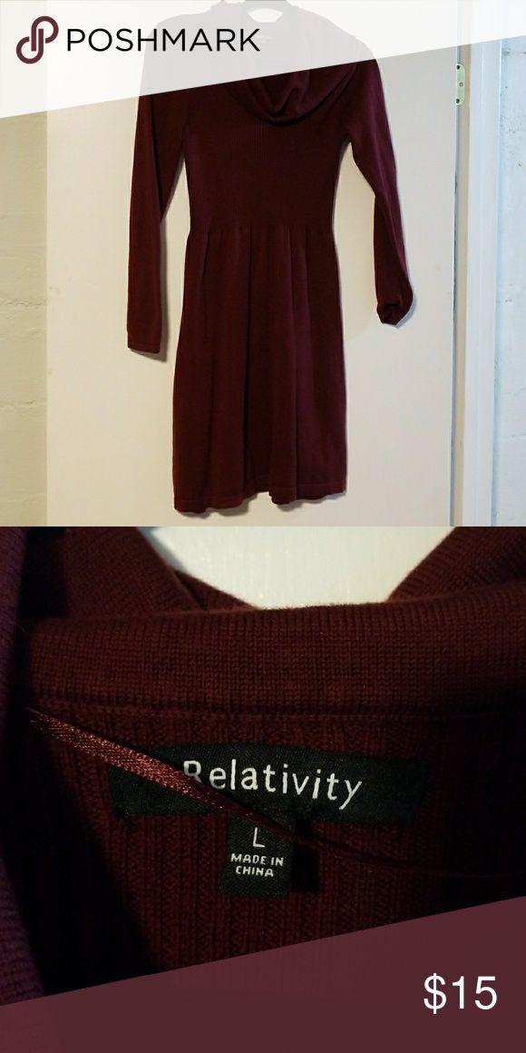 Burgundy Relativity Dress Sweater dress, only worn a couple times Relativity Dresses Midi