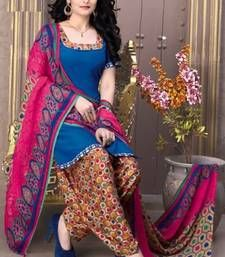 Buy blue printed Crepe unstitched salwar with dupatta dress-material online
