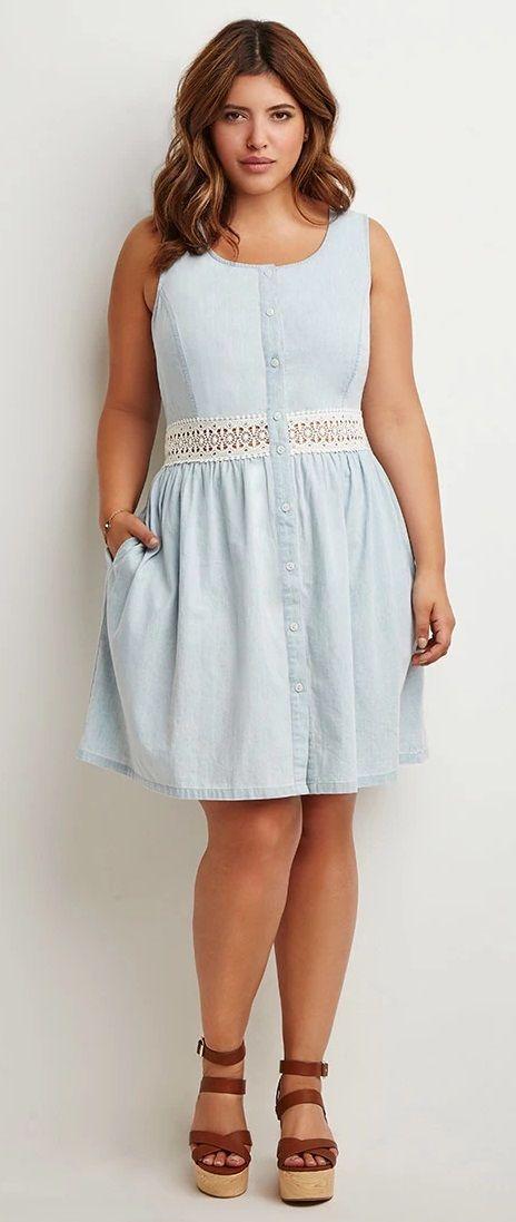 So Cute Plus Size Crochet Paneled Chambray Dress Plussizewomen
