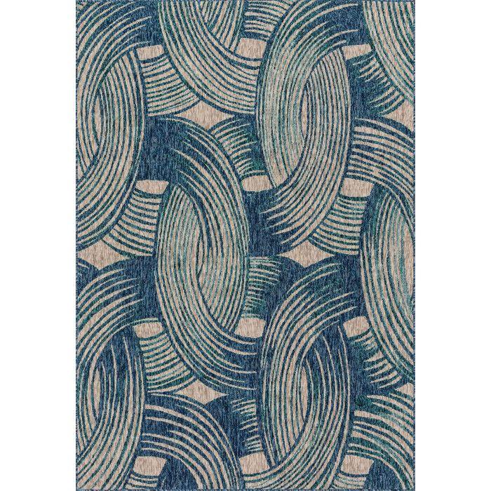 Corey Indoor/Outdoor Rug in Blue & Beige
