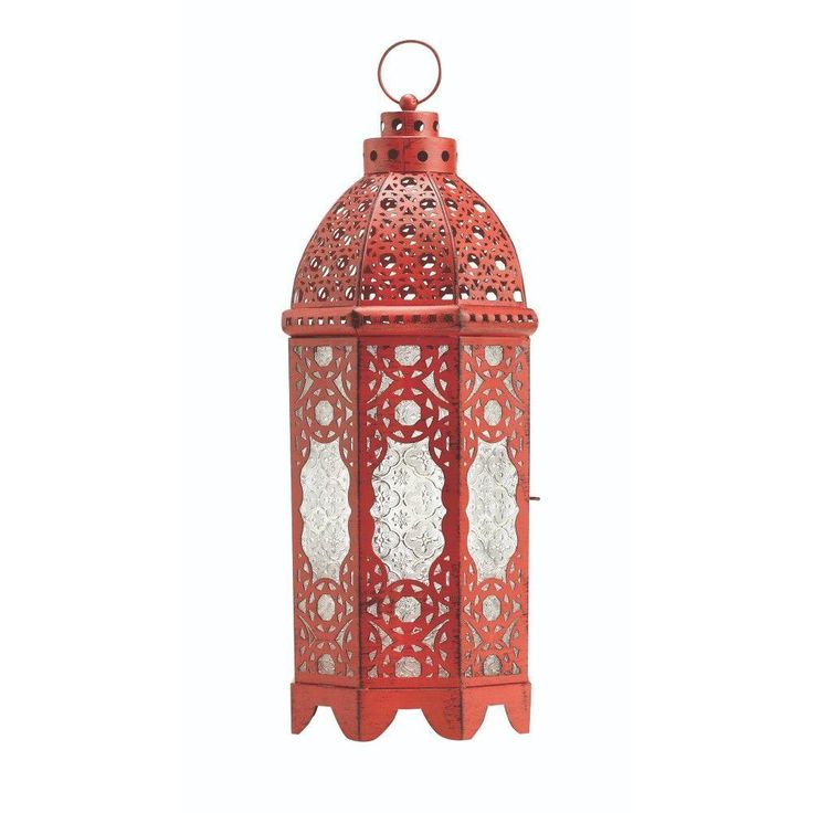 Home Decorators Collection Raja Small Patio Lantern in Red