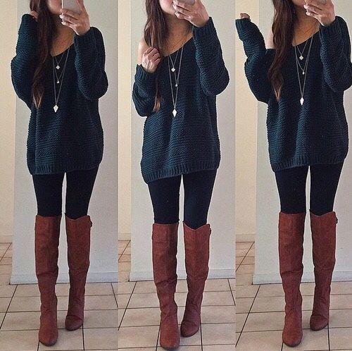 fall fashion, fall 2018, oversized sweaters, riding boots, fall boots, leggings,... 2