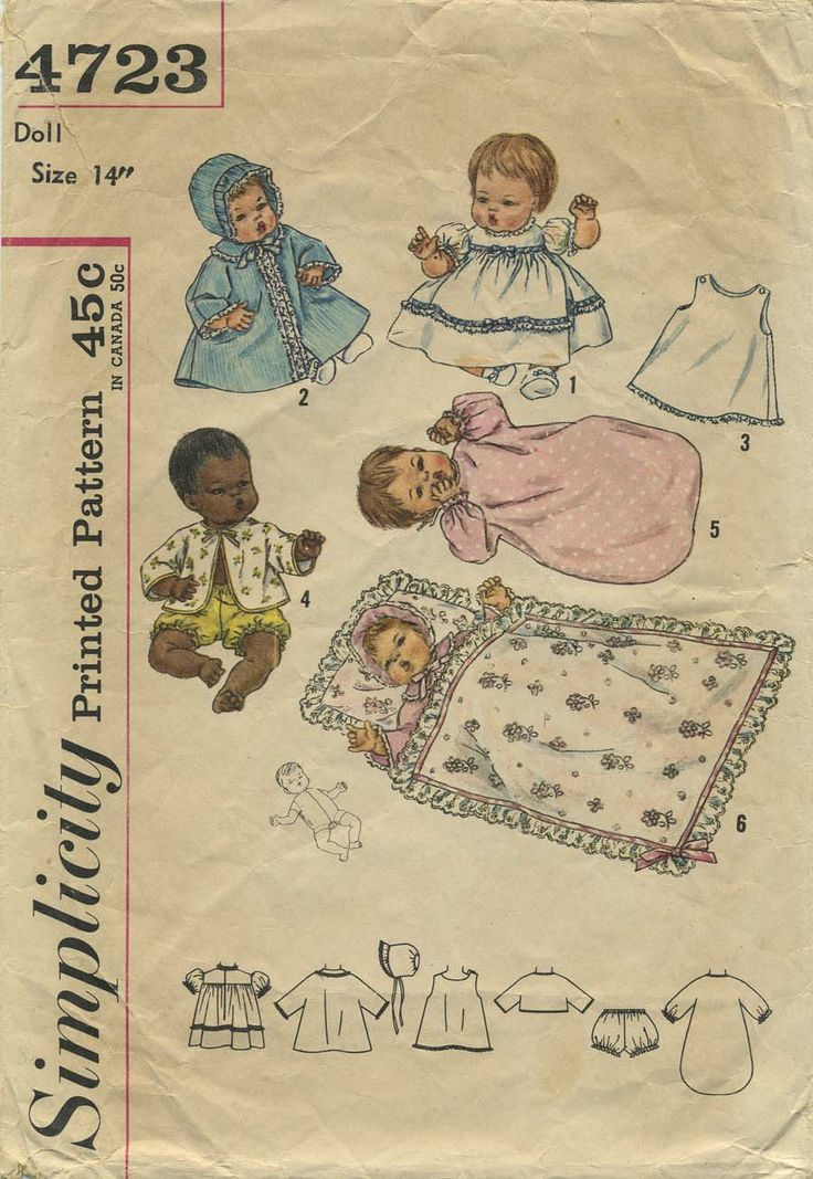 Vintage Doll Clothes Sewing Pattern | Doll's layette for Thumbelina, Baby Dear, My Baby, Tiny Talker, Blessed Event and Cuddle Lee (infant dolls with stuffed body and vinyl head and limbs) | Simplicity 4723 | Year 1962 | Doll Size 14""